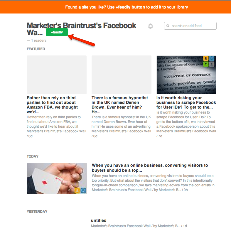 6.(b) Feedly page display