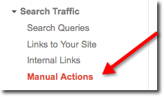 Navigate to Search Traffic, then Manual Actions