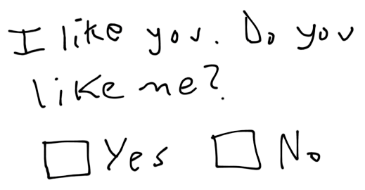 I like you. Do you like me? Check One: Yes No