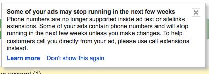 Adwords Memo: Phone Numbers in ads? Stop.